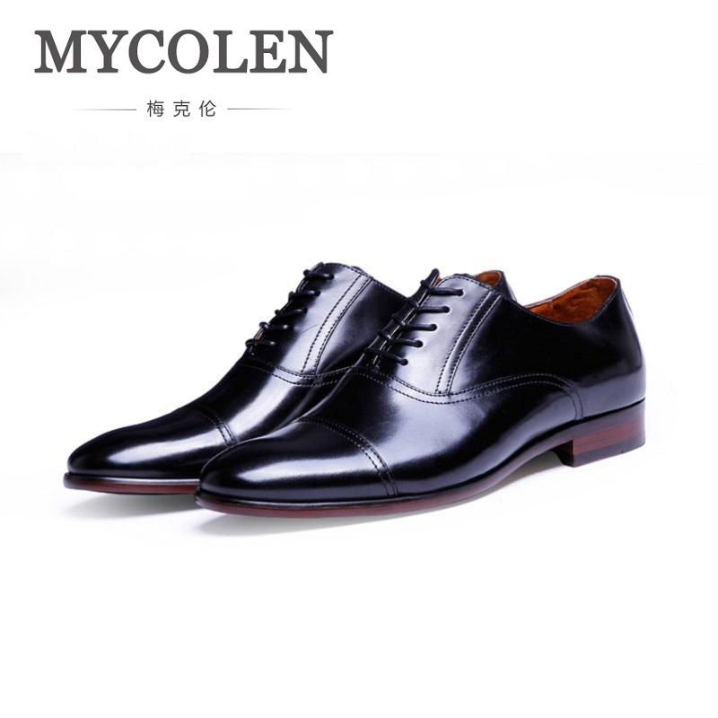 MYCOLEN New Arrival Top Quality Business Leather Man Shoes Spring/Autumn Brand Men Oxfords Classic Black Wedding Dress Shoes top quality business men cow real leather shoes black brown oxfords for man work dress footwear wedding formal shoes