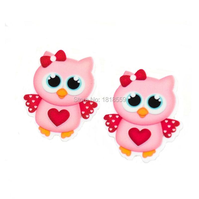 20Pcs Kawaii Flatback Pink Owl Design Planar Resin Cabochon Craft Kids Girls DIY Jewelry Accessories