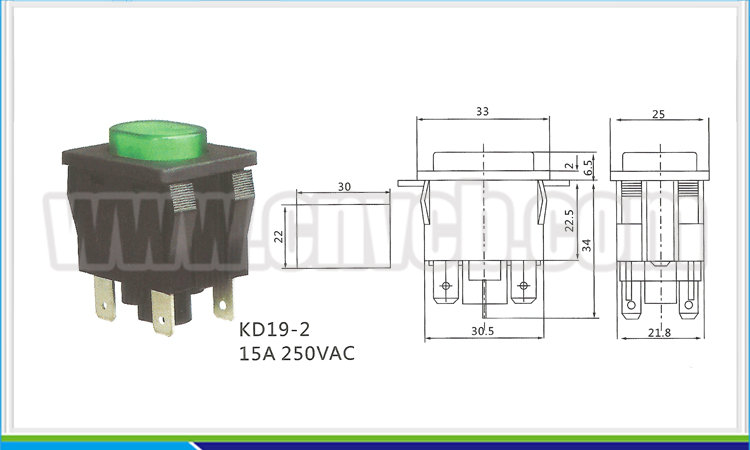 NS243 CE ROHS 4 PIN KD19-2 15A 250VAC square green push button switch