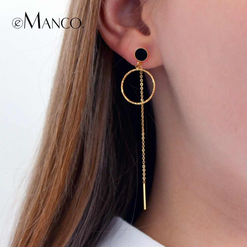 eManco Women Drop Earring Jewelry Rose Gold Color Satinless Steel Trendy Earrings Black Simple Round Circle Wedding Jewelry