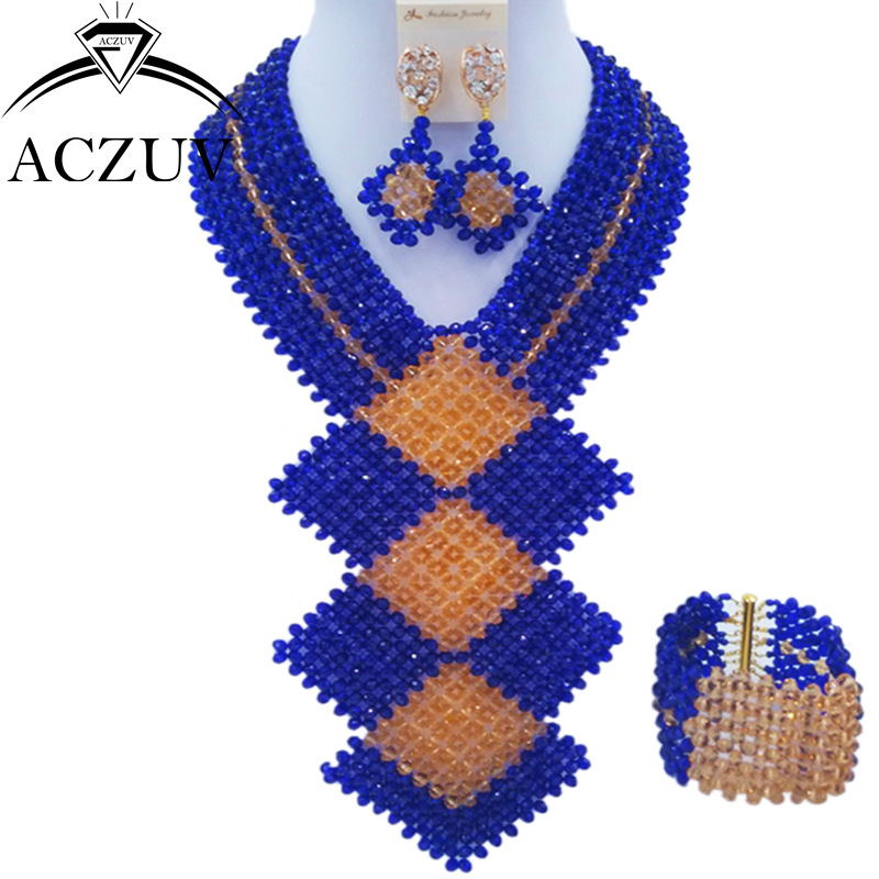 ACZUV Fashion Royal Blue and Gold African Beads Jewelry Set for Women Nigerian Wedding Necklace and Earrings CFKB002 chic rhinestone african plate shape pendant necklace and earrings for women