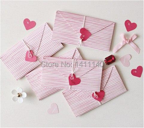 Online Shop Elegant Pink Stripe Love Heart Shape Envelope Wedding Invitation Card Envelopes Birthday Free Shipping