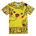 3D Pokemon Pikachu Camiseta Para Mujeres de Los Hombres Camisetas de La Moda Summer Casual Camisetas Tops Ropa de Anime de Dibujos Animados Lindo Traje de La Gota nave