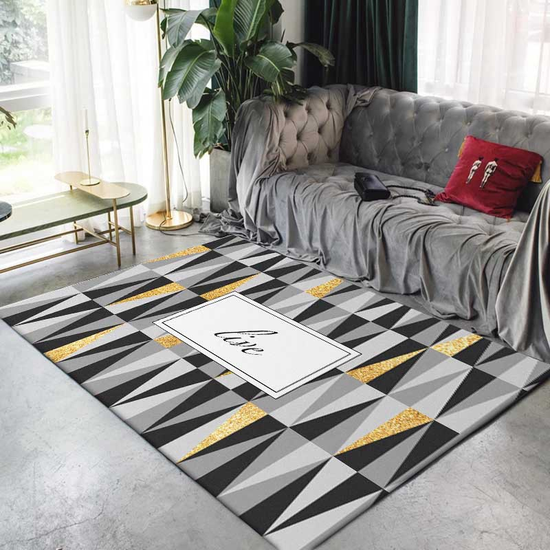 Nordic Style Black Grey Yellow Geometric Carpets For Living Room Anti-Slip Soft Kids Bedroom Floor Mats Large Size Home Area Rug