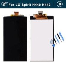 Negro lcd para lg spirit h440 h442 lcd touch screen digitizer + ensamblaje de la pantalla lcd piezas de reparación + herramientas