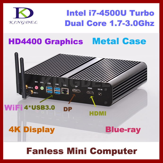 Free Shipping Fanless Intel I7-4500U Mini PC HTPC, Barebone, 4096*2160, 4*USB 3.0, WiFi, HDMI,4K, Blue-ray, DirectX 11 Supported