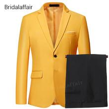 Wspaniały żółty mężczyźni Prom suknia ślubna 2018 smokingi Groom formalnym garnitur męskie 2 sztuk zestaw (kurtka + spodnie) slim Fit męskie garnitur kostiumy tanie tanio Gwenhwyfar skinny Smart Casual qt533 Zipper fly REGULAR Poliester Mieszkanie Pojedyncze piersi Garnitury