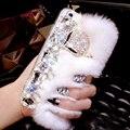Роскошные 3D Лиса Мех Кролика Diamond Crystal Телефон Случаях Coque Обложка для iPhone 5s SE 6 7 Plus для Samsung galaxy Case Capa
