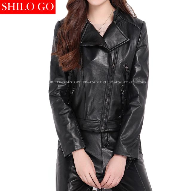 Plus tamaño de las nuevas mujeres de alta calidad de piel de Oveja locomotora solapa cinturón fino negro con cremallera de cuero genuino chaqueta corta 3XL