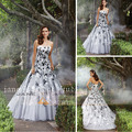 2017 New Strapless Floor-Length Sweep Train White and Black Wedding Dress Bridal Gown Vestido De Noiva W971