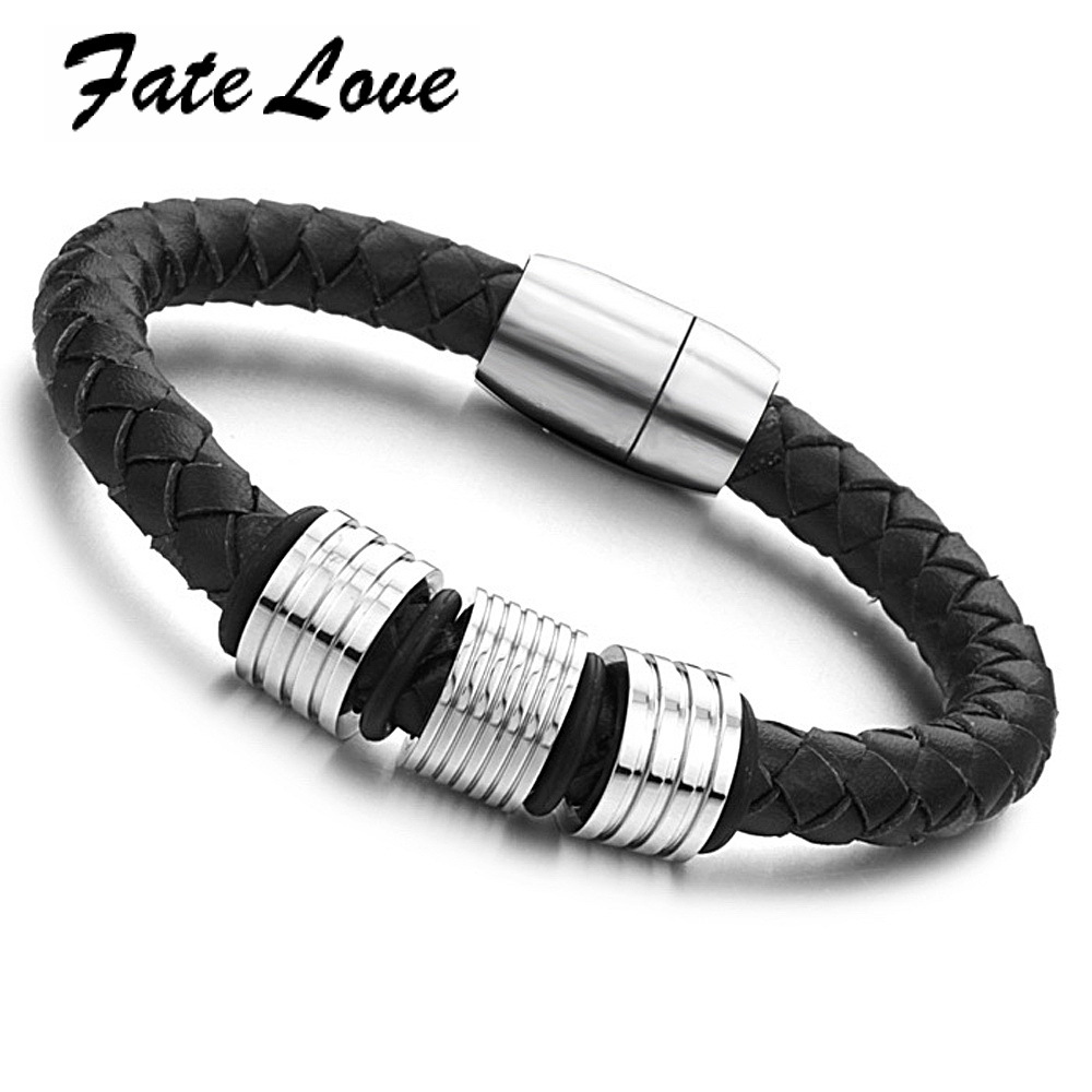 Fate Love New Fashion Vintage Men S Braided Leather Bracelet With Magnetic Clasp 7 8 8mm Punk For Male Party Fl690 In Strand Bracelets From