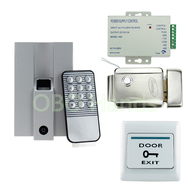 Fingerprint Door Access Control Security System Kit Set With Electric Control Lock + Power Supply+Door Exit Button For 1000 User rfid door access control system kit set with electric lock power supply doorbell door exit button 10 keys id card reader keypad