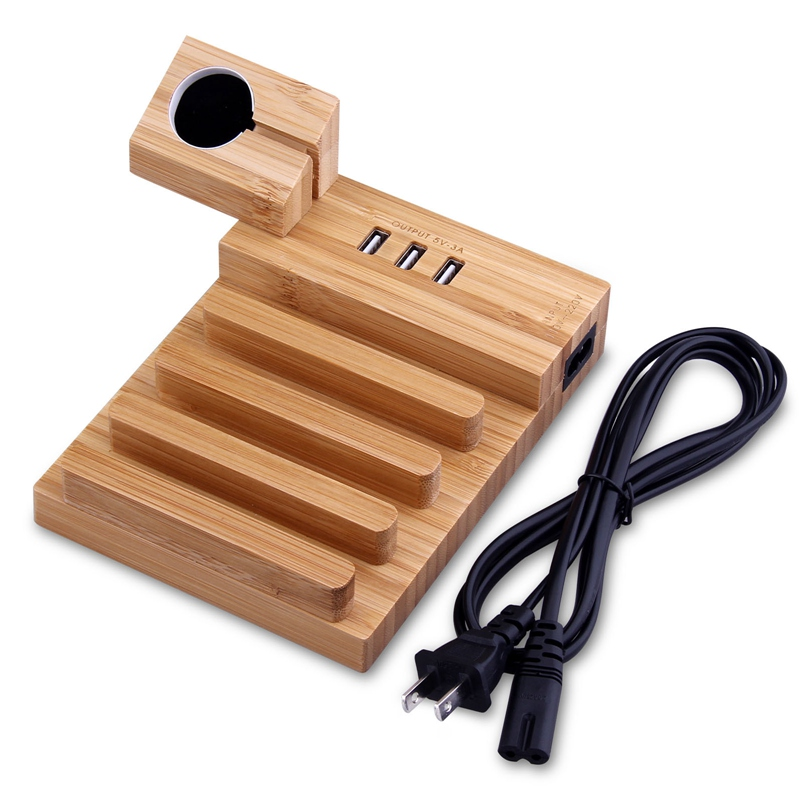 Universal Office Desk Wooden Bamboo Mobile Phone Charging Holder and Wireless Watch Charging Stand For Apple Watch iphone