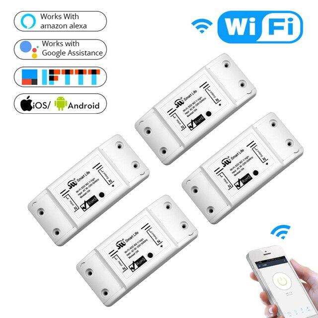 DIY WiFi Smart Licht Schalter Universal Breaker Timer Drahtlose Fernbedienung Arbeitet mit Alexa Google Home Smart Home 4 Stück