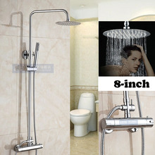 Chrome Rainfall 8 Ultrathin Round Shower Head Ajust Height Thermostatic Shower Mixer Faucet with Handheld Shower