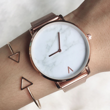 Brand Creative Mesh Band Marble Quartz Watch Casual Women Stainless Steel Wristw