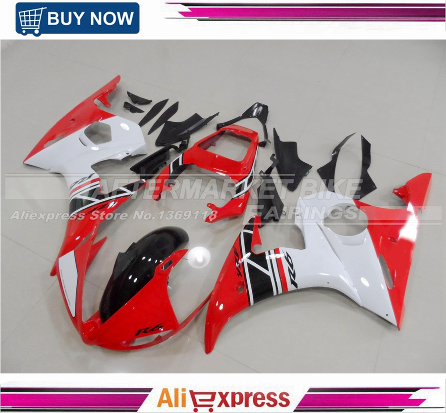 For Yamaha YZF R6 2003 2004 2005 Injection Mold Motorcycle Fairing Kit RED-AND-WHITE-AND-BLACK 7 gifts motorcycle abs fairings kits for 2003 2004 2005 yamaha yzfr6 blue black yzf r6 03 04 05 fairing kit body repair parts