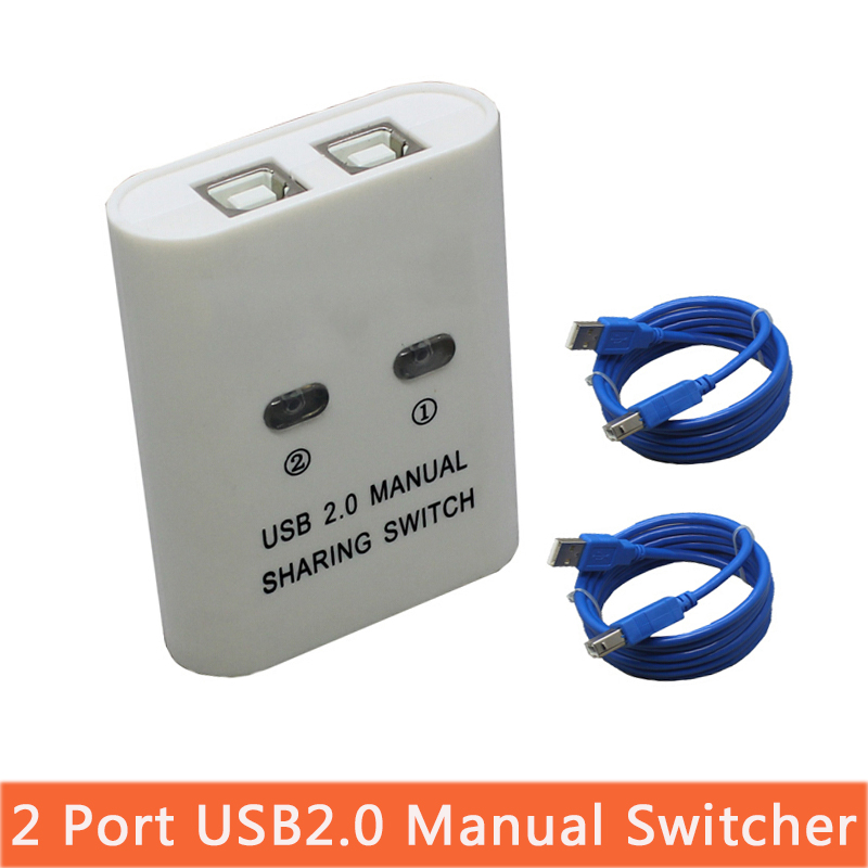 USB Hub Manual Sharing Switch 2 Ports For Computer PC Printer Mini NI5L High Quality Hot Sale With Two USB Print Connector Cable