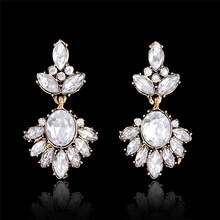 SHUANGR Fine Jewelry Vintage Royal Court Alloy Plated Water-drop Zircon Earrings White Crystal Dangle Earring For Women brinco(China)