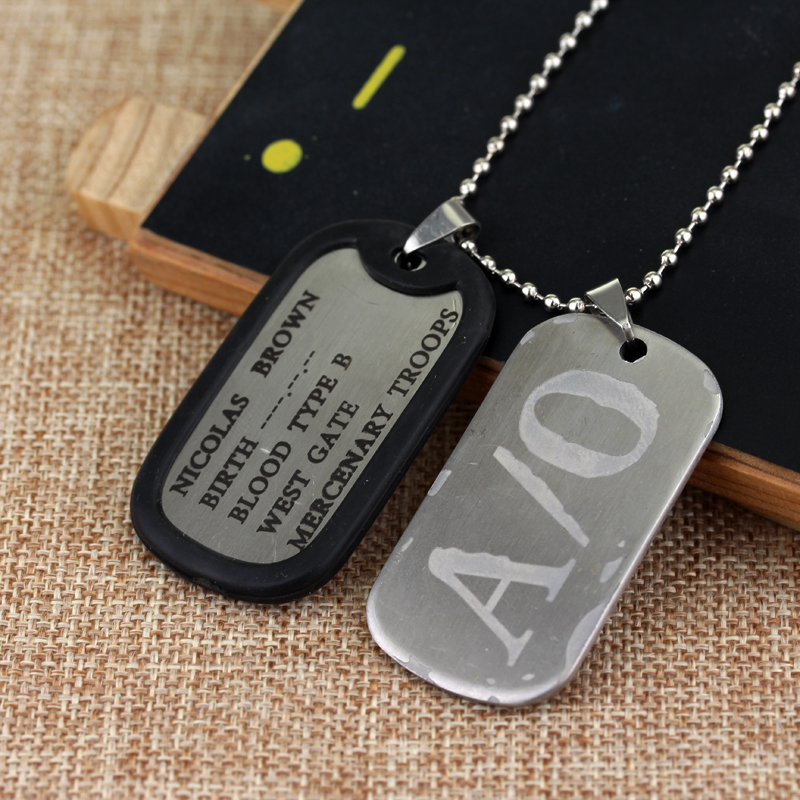 MQCHUN <font><b>Gangsta</b></font> A/0 Dog Tag Nicolas Brown Mercenary Necklace Pendant <font><b>Gangsta</b></font> Cosplay Titanium Steel Chain <font><b>Gangsta</b></font> A/0 Dog Tag image