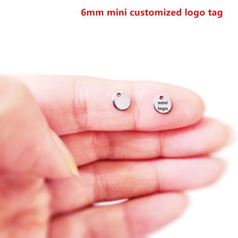 MYLONGINGCHARM 50 шт./лот 6 мм мини-диск с пользовательским логотипом или словами, гравированные мини-круглые бирки, пользовательская медаль, индиви...