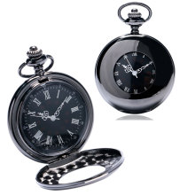 2017 New Steampunk Black Smooth Hole Designer Mechanical Hand Wind Pocket Watch Male Clock Fenmale Time