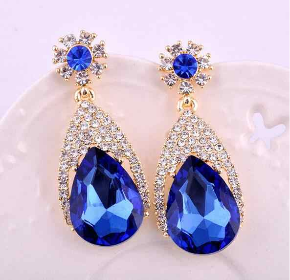 New fashion blue color big crystal vintage drop earrings for women dangling earrings brincos grandes party accessorie