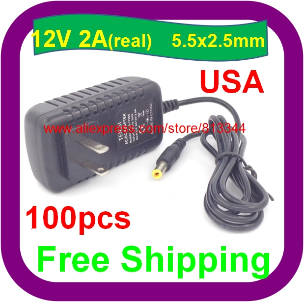 DHL Free Shipping 100pcs/lot AC 100-240V to DC 12V 2A Power Adapter Supply Charger For LED Strips Light