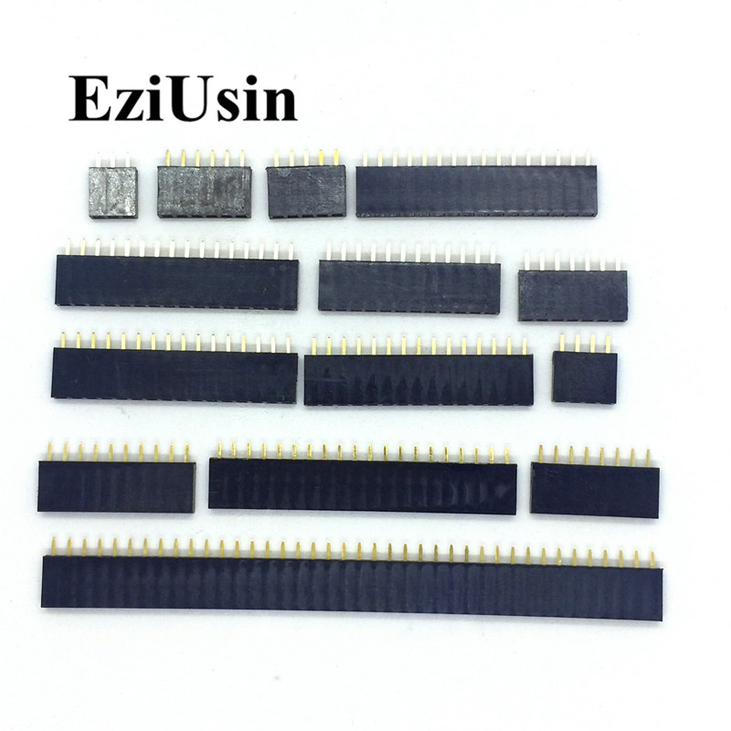 2.54mm Single Row Female 2~40P PCB Socket Board Pin Header Connector Strip Pinheader 2/3/4/6/10/12/14/16/20/40Pin For Arduino