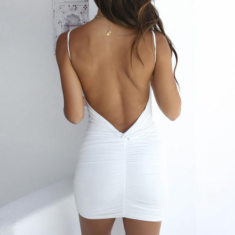 Sexy Womens Summer Backless High Draped Slim Bandage Bodycon Evening Party Short Mini Dress 5