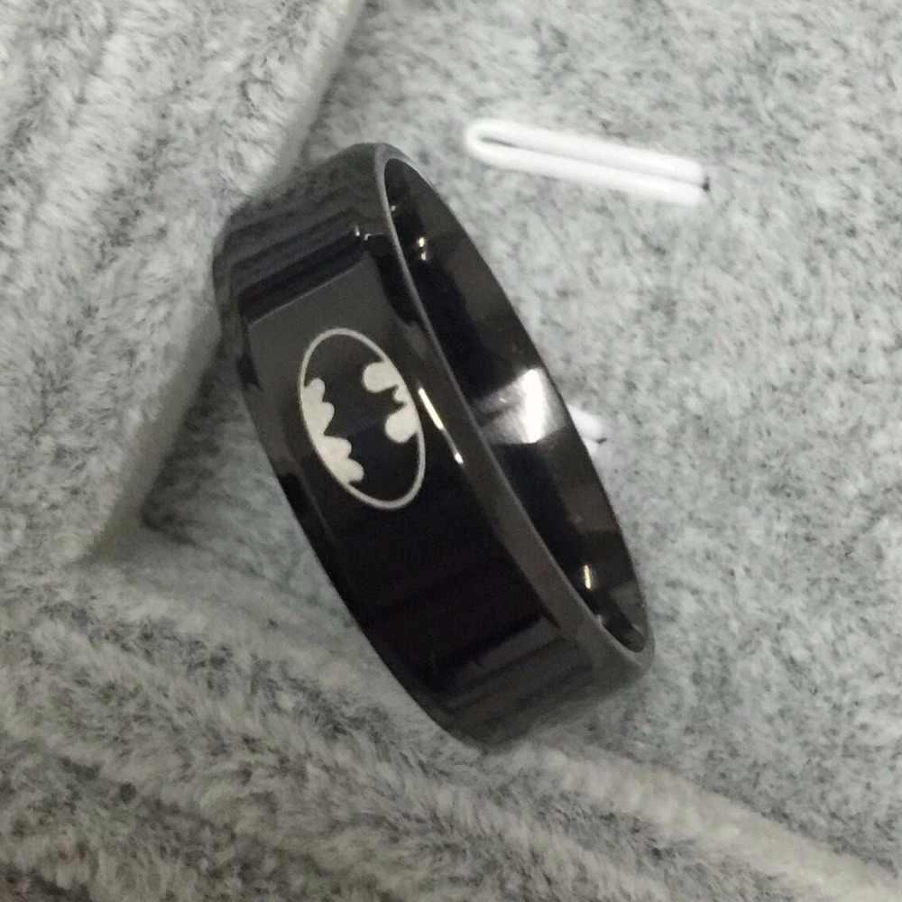 Legal meninos meninas 8mm aço inoxidável 316L preto batman anéis para mulheres dos homens de alta qualidade tamanho EUA 6-14