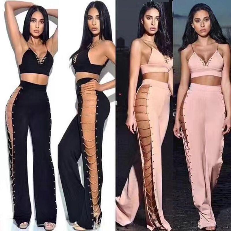 kim kardashian womens suits two piece set tank top pant off shoulder long sexy 2017 fashion black friday girl party dresses