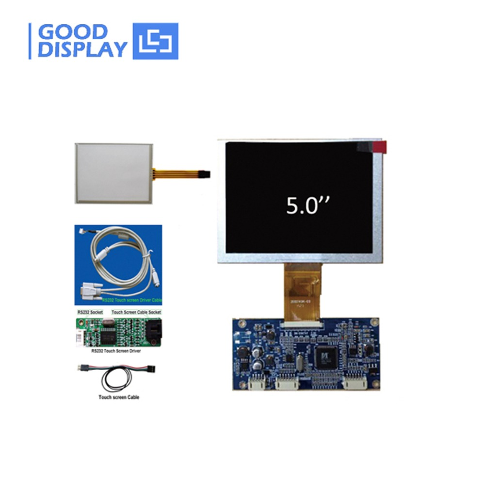Free Shipping RS232 port touch set VGA Video input Digital 5 TFT LCD monitor