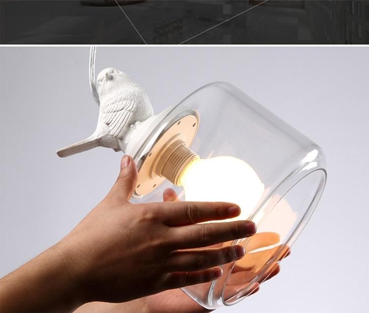 LuKLoy Resin Bird Pendant Lamp Light Nordic Glass Lights Lighting for Loft Kitchen Dining Room Ceiling Bedroom Decoration (13)