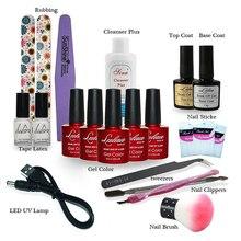 New ! Lulaa Nail Art Manicure Tools Set 9WLED Lamp + 5 Color 10ml soak off Gel nail base gel top coat polish Other Nail Tools