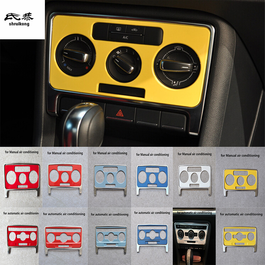 2pcs lot Car stickers ABS material Air conditioning adjustment switch panel decoration cover for 2013 2018