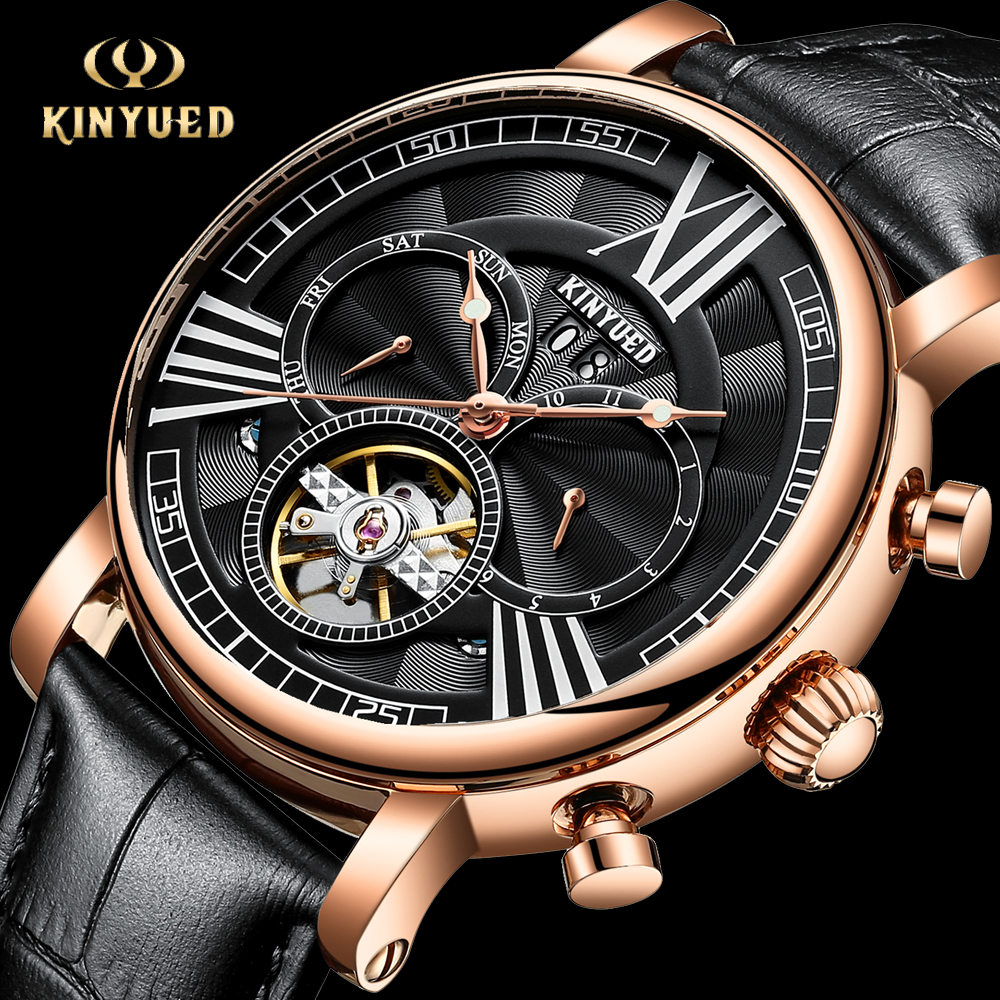 KINYUED Top Brand Luxury Mens Watches Automatic Mechanical Watch Men Tourbillon Skeleton Business Sport Wristwatch montre homme baogela hollow skeleton automatic mechanical watches mens top brand luxury leather band gold business wristwatch