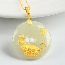3a946e719de4 Hetian Jade botón Seguridad colgante de Jade collar de mujer amantes amuleto  de la suerte de joyas de oro de 24 K chino al por m.