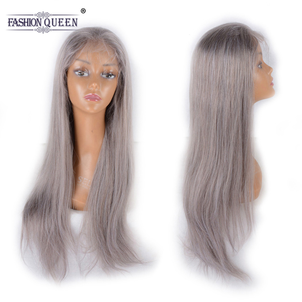 Fashion Queen Hair Pre Plucked Full Lace Human Hair Wigs With Baby Hair Brazilian Remy Hair Grey Straight Lace Wig For Women