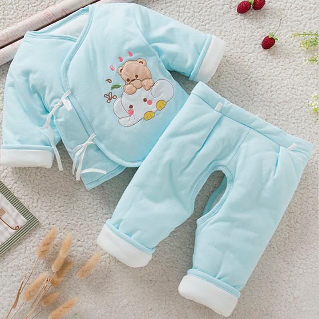 Frete grátis terno de inverno de espessura roupa interior térmica para recém-nascidos 100% algodão conjuntos de meninos e meninas pijama bebê