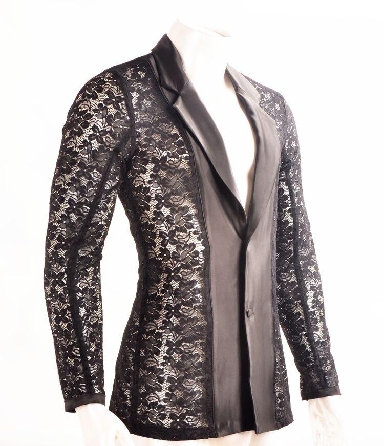 Здесь продается  sexy Men Latin Dance Lace Openwork Cardigan Lapel Long Sleeve Clothes  Одежда и аксессуары