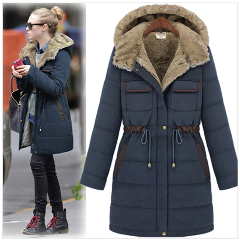Honey Moda Winter new fashion slim wadded overcoat female ...