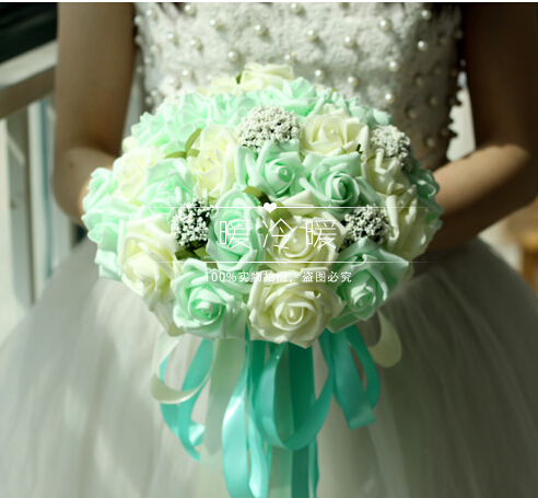2017 All colors In Stock Romantic Wedding Bridesmaid Rose Pearls Artificial Flowers Bridal Bouquets Handmade Wedding Bouquets
