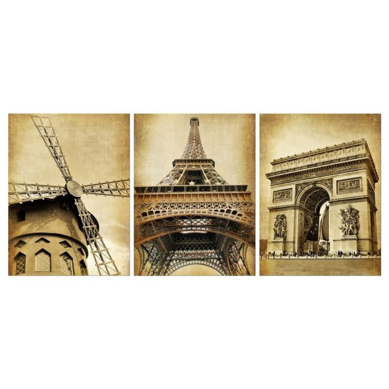 3 piece wall art europe architecture paris prints oil painting on canvas art deco for home