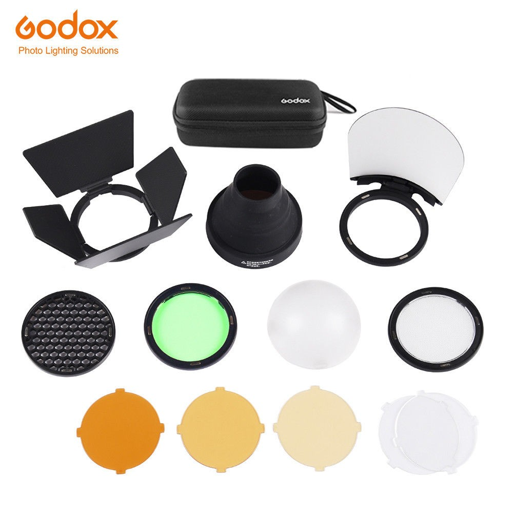 Godox AK-R1 Accessories kit Compatible for Godox H200R Round Flash Head, AD200 Accessories Honeycomb Snoot Diffuser and Filters