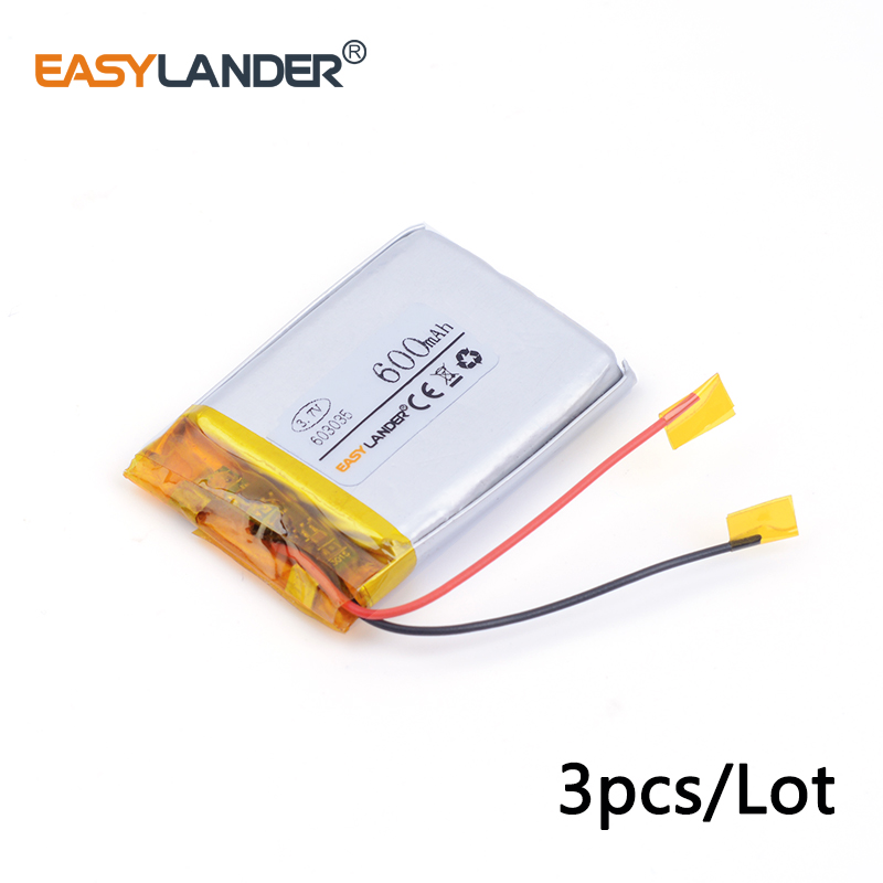 3pcs /Lot 603035 600MAH 3.7v lithium Li ion polymer rechargeable battery For MP3 MP4 GPS ...