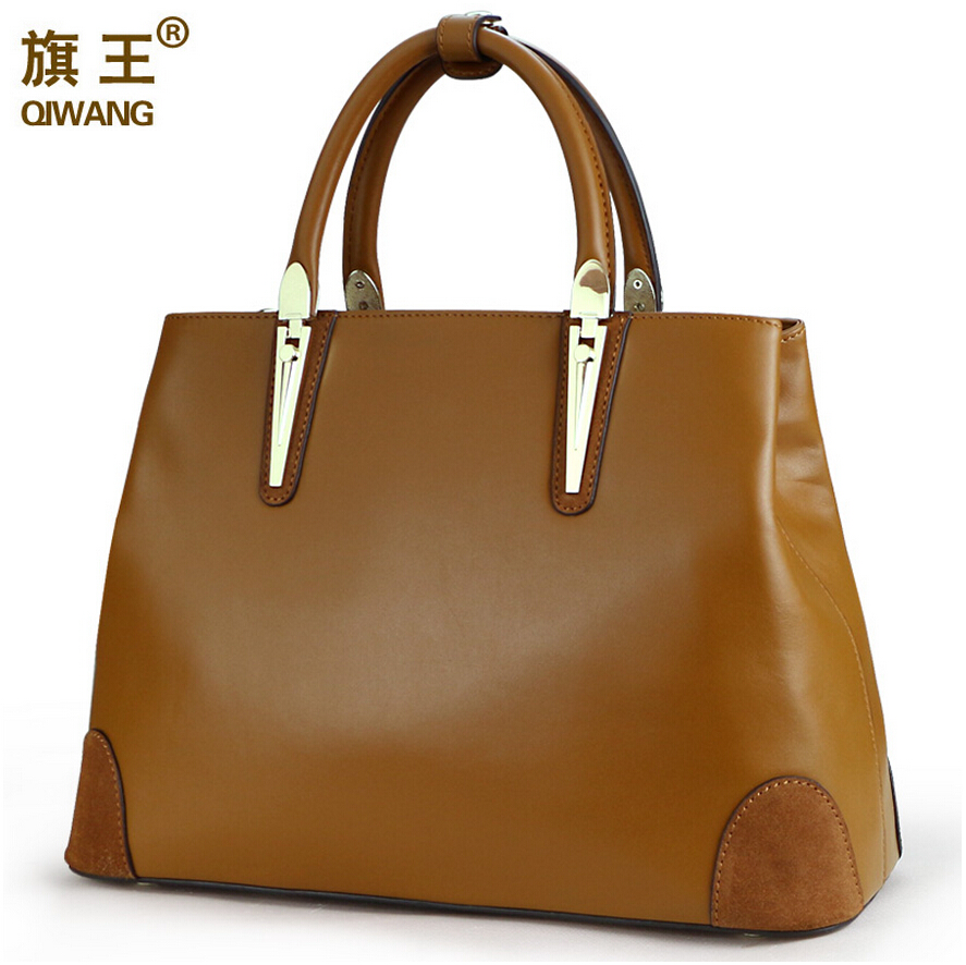 2016 new Top quality women genuine leather bag QIWANG famous brands women bag women handbag Shoulder Messenger Bag