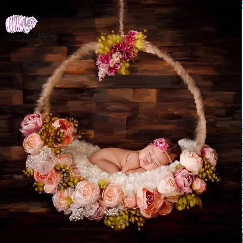 Новорожденный реквизит для фотосъемки корзина подвесное украшение Цветочная кровать для студийной съемки позирует Session Basket bebe фото реквиз