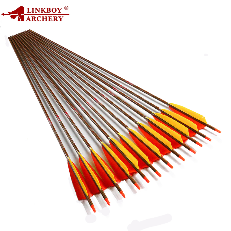 12pcs Linkboy Archery Pure Carbon Arrow 32 Sp400 600 Wood Skin Shaft and 5inch Turkey Fletching