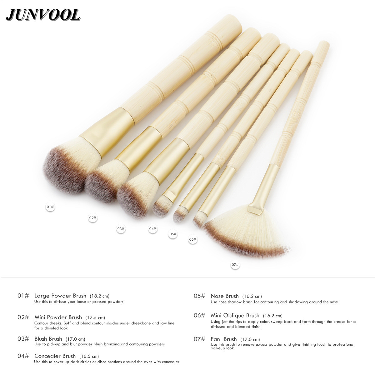 Pro Fan Brush 7Pcs Bamboo Handle Makeup Eyeshadow Blush Concealer Brushes Set Powder Foundation Facial Multifunction Beauty Tool 1pc multifunction makeup brushes and 15 color concealer oblique wooden handle mask powder facial face cream set beauty tools